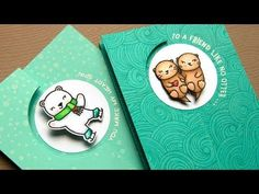 Hope your weekend was good. Today I am sharing how to create a fun z-fold spinner card! Slider Cards, Flip Cards, Fun Fold Cards, Pop Up Cards, Folded Cards, Jennifer Mcguire Ink, Otter, Swing Card, Spinner Card