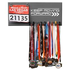 Keep Moving Forward- Medals and Bib Hanger, Holder, Display