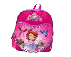 "Sofia the First 10"" Small Girls Hot Pink Purple Toddler School Backpack Book bag #Disney"