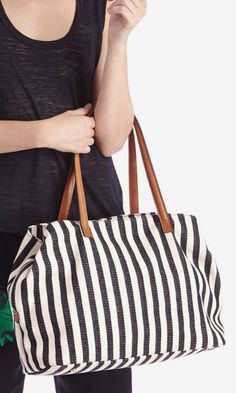 Oversized black & white striped tote bag