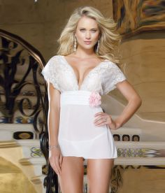 40e7ed71ec0 Stretch mesh with spandex and stretch lace band babydoll with waistband  shirring