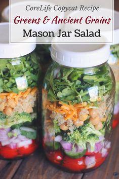 Mason Jar Salad: Greens & Ancient Grains (Copycat CoreLife Recipe) - Organize Yourself Skinny Mason Jars, Mason Jar Meals, Meals In A Jar, Balsamic Vinegar Dressing, Salad Recipes, Jar Recipes, Weekly Recipes, Juicer Recipes, Picnic Recipes