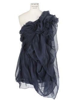 Yiqing Yin-blue asymmetric pleated and draped organza-silk dress