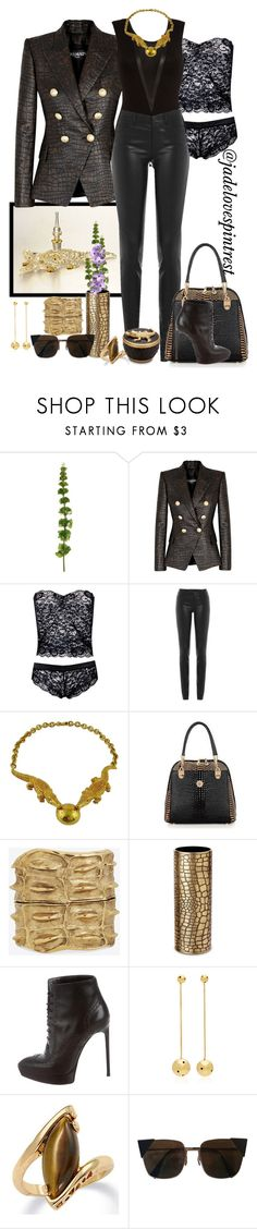 """""""Show Me Your Teeth"""" by jadelovespintrest ❤ liked on Polyvore featuring Balmain, Helmut Lang, CÉLINE, Yves Saint Laurent, L'Objet, Paula Mendoza, Palm Beach Jewelry and Fendi"""