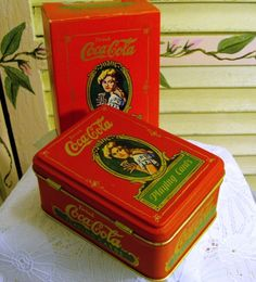 Vintage 1980 Coca Cola Playing Cards in Tin - Super Condition. $6.45, via Etsy.