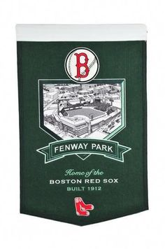 Boston Red Sox Fenway Park Stadium BannerWool Stadium BannerThese embroidered wool blend felt banners feature your favorite team logo and a fabric image of their iconic stadium. Banners come with a black hanging cord and rod for mounting on a . Boston Red Sox, Chicago White Sox, Fenway Park, Banner Online, Felt Banner, Buster Posey, Yadier Molina, Mlb Teams, Oakland Athletics