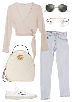 """Untitled #1841"" by kellawear on Polyvore featuring RE/DONE, Samuji, Gucci, Yves Saint Laurent, Ray-Ban and Letters By Zoe"