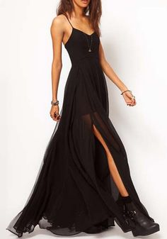 Black Double-deck V-neck Sleeveless Loose Chiffon Dress #black #dress #maxi #goth