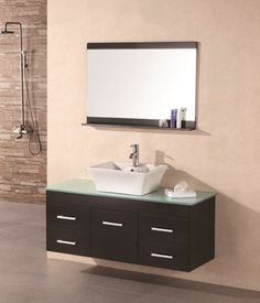Portland Espresso 48 Single Sink Wall Mount Vanity Set