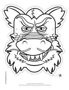 Chinese Dragon Mask to Color Printable Mask, free to download and print