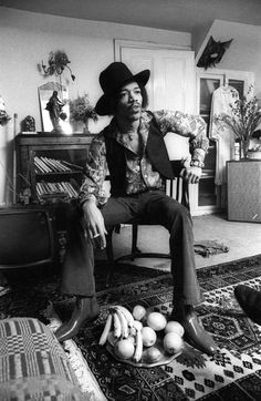 Jimi Hendrix photographed by Barrie Wentzell at 23 Brook Street in London, 1969.