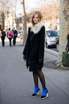 pop of blue socks in Paris.
