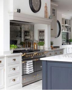 the blue painted kitchen interior design kitchen diner extension 1 Open Plan Kitchen Living Room, Home Decor Kitchen, Interior Design Kitchen, New Kitchen, Home Kitchens, Kitchen Mantle, Shaker Style Kitchens, Island Kitchen, Design Jobs