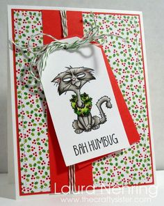 """C.C. Designs Rubber Stamps - Roberto's Rascals """"Grouchy Claus"""", AmyR Snarky Christmas Sentiments, C.C. Cutters Baggie and Tag Die, Doodlebug Santa Express 6x6 Pad"""