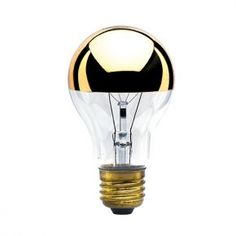 Bulbrite Half Gold Globe Bulb (Set of Half Gold Globe Bulb: incandescent globe bulb Medium base Made of glass Measurements: DIA x H Material: Glass Care: Wipe with a damp cloth Brand: Bulbrite Gold Globe, Contemporary Light Bulbs, Contemporary Style, Chandeliers, Vases, Bowl Light, Light Art, Incandescent Light Bulb, Light Reflection