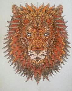 Layered Lion coloring page