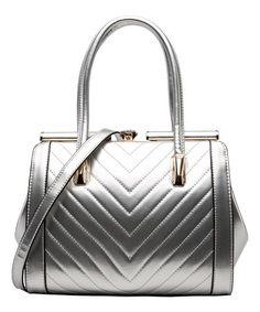 87d6917da17c Loving this Silver Chevron-Stitch Patent Satchel on #zulily! #zulilyfinds  Purse Styles