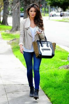 Sand coat and denim