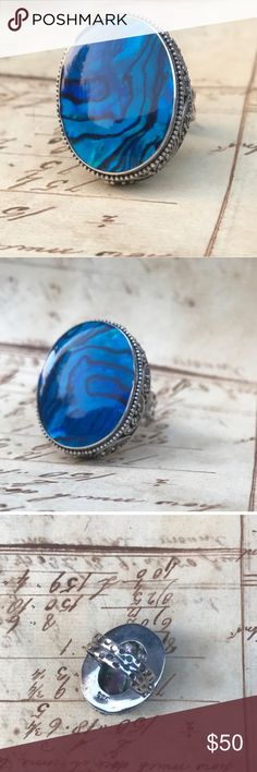 "Blue Abalone Shell Ring Sterling silver 6 1/4 boho Blue Abalone Shell Ring  Marked 925 Sterling Silver  Beautiful and in great pre-owned condition  Size 6 1/4""  From a pet and smoke free location!  Please note that vintage items may show signs of usage and wear. Jewelry Rings"