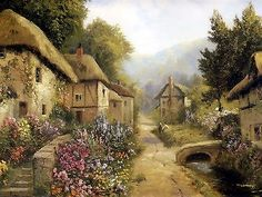 8x10 Print C19th Landscape English Thatched Cottage Village Rose Garden Flowers