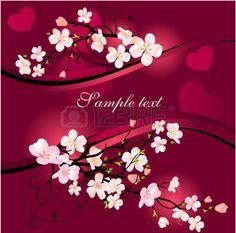 herzbaum pink: Blühender Baum-Hintergrund  Illustration