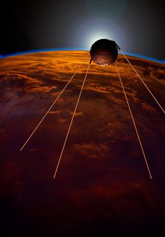 Sputnik 1 was the world's first artificial satellite, launched by Soviet Union into an elliptical low earth orbit on 4 October Space Race, Mystery Of History, Atomic Age, First Humans, Space Exploration, Photo Illustration, Outer Space, Solar System, First World