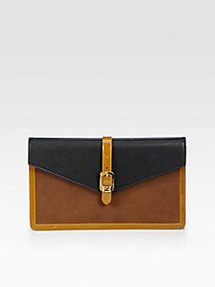 Fendi - Chameleon Bustina Patent Leather & Leather Clutch