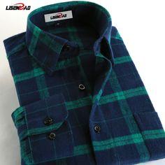 Flannel Men Plaid Shirts 2017 Autumn  Slim Long Sleeve Casual Shirts 100% Cotton Brand High Quality Plus Size Dress Men Shirts #Affiliate