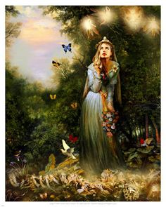 fairies dancing around witch gathering flowers with butterflies