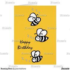 Abelhas de zumbido cartão comemorativo