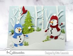 One of my snowman card ideas made using die cuts from Rubbernecker showing two tiny snowmen in their snowy forest Best Friend Cards, Cards For Friends, Diy Cards, Holiday Cards, Christmas Cards, Rubber Stamping Techniques, Snowman Cards, Die Cut Cards, Card Making Techniques