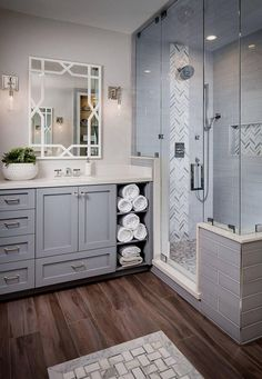 Get inspired for your next bathroom remodel with these 50 beautiful bathrooms that feature luxury finishes and a spa-like vibe.: Bathroom With Tiles And Textures. Discover more check this link. Diy Bathroom Remodel, Shower Remodel, Bathroom Renovations, Budget Bathroom, Bathroom Makeovers, Inexpensive Bathroom Remodel, Beautiful Bathrooms, Modern Bathroom, Bathroom Gray