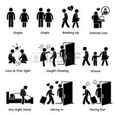 Couple Boyfriend Girlfriend Love Stick Figure Pictogram Icon Cliparts photo