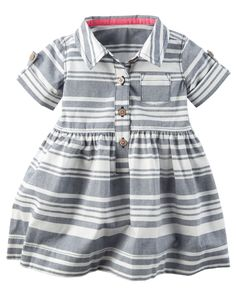 Baby Girl Striped Poplin Dress from Carters.com. Shop clothing & accessories from a trusted name in kids, toddlers, and baby clothes.