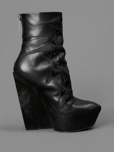 GARETH PUGH HIGH ANKLE BOOTS WITH EMBROIDERY HEEL: 12CM
