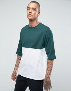 ASOS Oversized T-Shirt With Color Block - Green