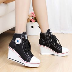 badge wedges high lacing casual elevator shoes female canvas shoes high top wedge sneakers women sport shoes