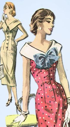 1950s Vintage McCalls Sewing Pattern 3646 Misses Wiggle Dress Size 12 30 Bust…