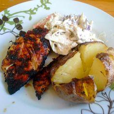 レシピとお料理がひらめくSnapDish - 7件のもぐもぐ - Ginger marinated chicken and baked potato, both cooked on the charcoal grill by Fe's kitchen