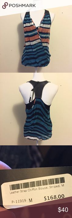 NWT Akiko Silk Chiffon Racerback Tank Medium New with tags Akiko chiffon blouse featuring blue and orange stripes with a crossover front, and leather paneled racerback. Tank lining with elastic hem.  Size Medium. Akiko Tops Blouses
