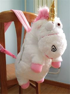 """IT'S SO FLUFFYYYYY!!!!  New Despicable Me 2 Cute Unicorn Backpack 26"""" Plush Toy School Bag #DespicableMe"""