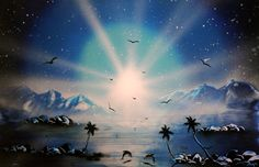 sprayart space painting , acrilic on paper , original art / Blue seascape  Meditation painting , helps with achieving clarity , and helps with seeing the bigger picture  Spray painting acrilic on paper ,  Original , one of kind  painted in Mexico 2013  dimentions:  22.5X45 cm  price: 45.00 us $