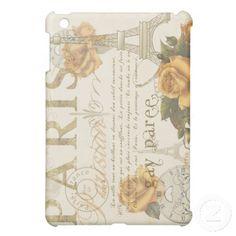 KRW Vintage Style Paris Roses Eiffel Tower Case iPad Mini Covers