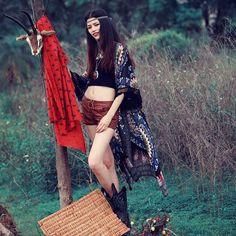 [Aporia.AS] Original Design 2016 summer women boho long tassel chiffon open stitch bohemian printing beach sun shirt Y0122