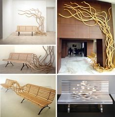 artist Pablo Reinoso creates wooden benches that appear to be alive and growing