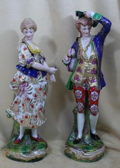 PR ANTIQUE  ROYAL CROWN DERBY FIGURINE LOVERS CIRCA 1800'S #royalcrownderby