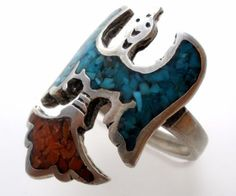 Sterling-Silver-Thunderbird-Ring-Mosaic-Turquoise-Coral-Size-7-5-Vintage-Jewelry