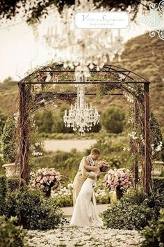 beautiful altar decorated in flowers and vines for an outside wedding, chandelier by dukek Wedding Ceremony Ideas, Outdoor Ceremony, Wedding Trends, Outdoor Weddings, Ceremony Arch, Wedding Gazebo, Rustic Wedding, Wedding Canopy, Garden Weddings