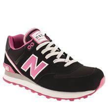 78627e0c18 womens new balance black & pink 574 stadium jacket trainers New Balance  Black, New Balance