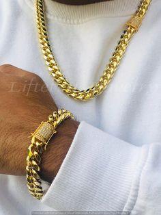 Men Necklace, Fashion Necklace, Gold Necklace For Men, Bracelet Clasps, Bracelet Sizes, Mens Iced Out Rings, Silver Grillz, Mens Gold Bracelets, Link Bracelets